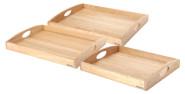 Continenta 3er Set Tabletts aus Gummibaumholz, rechteckige Serviertabletts, Größe: 44 x 35 cm, 50 x 39 cm und 54 x 42 cm, Set by Danto®
