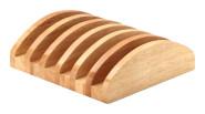 Continenta Bretterständer aus Gummibaumholz für 6 Bretter bis 2 cm Dicke, Brettständer, Brettchenständer, Größe: 20,5 x 18 x 6 cm