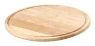 Continenta Holz Pizzateller aus Gummibaumholz mit Rille für Flüssigkeiten, Pizzabrett, Holzteller, Größe: Ø 33 x 1,2 cm