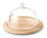 Continenta Käseglocke, Käsebrett mit Glasglocke 2-teilig, rund, Käseteller aus Gummibaumholz, Größe: Ø 26 x 16 cm