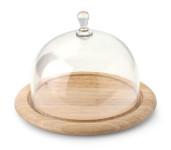 Continenta Käseglocke, Käsebrett, 2-teilig, rund, aus Gummibaumholz, Größe: Ø 20 x 14 cm