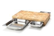 Continenta Multifunktions- Schneidebrett aus Holz, mit 3 Edelstahl-Schubladen, 50 x 32,5 x 8 cm