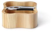 Continenta quadratische Nussschale aus Gummibaumholz mit integriertem Qualitäts-Nussknacker, Größe: 24,5 x 24,5 x 8 cm