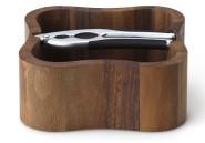 Continenta quadratische Nussschale aus Akazie Kernholz mit integriertem Qualitäts-Nussknacker, Größe: 24,5 x 24,5 x 8 cm