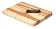 Continenta Schneidebrett aus Buche Kernholz, Tranchierbrett in Profi Qualität, mit Bast-Verzierung optimaler Geschenkartikel, Größe: 30 x 21,5 x 2 cm