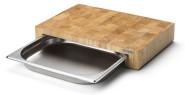Continenta Spar-Set Profi Tranchierbrett inkl. 2 Edelstahl Schubläden, Edel-Schneidebrett aus Gummibaum Stirnholz, Größe: 39 x 27 x 6 cm
