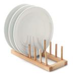 Continenta Tellerständer für 6 Teller, Tellerablage, Tellerregal aus Gummibaumholz, Größe: 30 x 12 x 9 cm