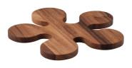 Continenta Topf- und Pfannen-Untersetzer aus Akazienholz in Klecks-Optik und Edel Qualität, Holz Topfunterlage, Größe: Ø 24 x 1,2 cm