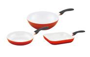 culinario Pfannenset mit weißer antihaft Keramikbeschichtung in rot, Bratpfanne Ø 24 cm, Grillpfanne 28 x 28 cm und Wok Ø 30 cm