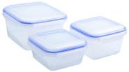 culinario 3er Set Frischhaltedosen 900 ml, 1,2 und 2,3 Liter, ineinander stapelbar, transparent