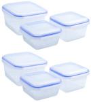 culinario 6er Set Frischhaltedosen 2 x 900 ml, 2 x 1,2 und 2 x 2,3 Liter, ineinander stapelbar, transparent