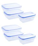 culinario 6er Set Frischhaltedosen 2 x 800 ml, 2 x 1,3 und 2 x 2,5 Liter, ineinander stapelbar, transparent