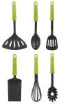 culinario 6er Set Küchenhelfer, Küchenbesteck in schwarz mit grünem Griff, aus Kunststoff