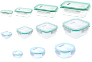 culinario Cloc Frischhaltedosen Sets aus Glas, Größen und Ausführungen wählbar, rechteckig, mit Mikrowellendeckel, bis 400°C hitzebeständig