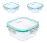 culinario 3er Set Cloc Frischhltedosen aus Glas, 1 x 800 ml/ 2 x 370ml, quadratisch, mit Mikrowellendeckel, bis 400°C hitzebeständig