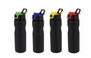 culinario Edelstahl Trinkflasche STEEL, 750 ml, schwarz, Verschluss-Farbe wählbar