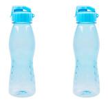 2 Stück culinario Freizeit Trinkflasche Flip Top, 700 ml, hellblau