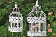 Deko-Vogelkäfig 2er-Set, aus Eisen in weiß, Höhe ca. 39 und 48 cm