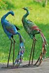 Dekofigur, Gartenfigur Vogel Pfau aus Metall, sortiertes Design, 1 Stück, 34 cm x 23 cm x 78 cm
