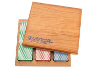 DMT Diamant-Bench Stone Kit, in Holzbox blau/grob, rot/fein, grün/extrafein