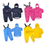 DRY KIDS PU Wasserdichter 2-tlg. Kinder Regenanzug, Farbe & Größe wählbar, Regenhose mit Hosenträger, Regenjacke mit Kapuze, reflektierend