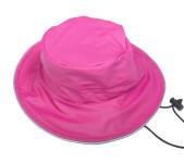 DryKids PU Wasserdichter Regenhut für Kinder von 5 bis 8 Jahren, verschweißte Nähte, reflektierende Regenkleidung, pink