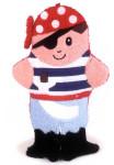 Egmont Toys Waschhandschuh, Waschlappen, Baby-Waschhandschuh, Motiv: Pirat, in rot-schwarz