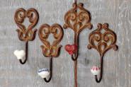 Eisen Wandhaken, Garderobenhaken, Handtuchhalter, Universalhaken, mit Keramik Köpfen, sortiert, Lieferumfang: 1 Stück