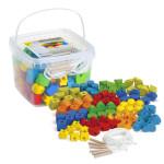 Erzi 94tlg. Lernspiel Fädelsteinen aus Buchenholz und Kunststoff