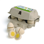 Erzi Eier zum Schneiden im Karton, Holz Spielzeug, Kaufladenzubehör, Spielzeug-Eier, Holz-Ei, gekochte Eier aus Holz, schneidbar