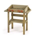 Erzi Grill Outdoor aus Kiefernholz, 30 x 60 x 66 cm, imprägniert,Outdoor Spielzeug Holzgrill, Altersempfehlung 3+ Jahre, mit kleinen Seitenablagen