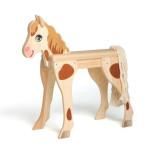 Erzi Großes Holz Spielpferd Bella für bis 2 Kinder, mit Zaumzeug, sehr stabil, fester Stand, Ohren beweglich, bequeme Sitzfläche, Mädchen & Jungen