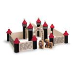 Erzi Holz-Ritterburg mit den Figuren Ritter und Ritterpferd, 36 Teile aus Holz