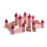 Erzi Holz-Traumschloss Prinzessin, mit Figuren Prinzessin und Einhorn, 36 Teile aus Holz
