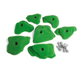 Erzi Klettergriffe für Kletterwände, 7 Stück inklusive Montagematerial, Kletter Griffe in verschiedenen Größen & Formen, grün