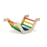 Erzi Kletterwippe Mini, Wippe, Brücke oder Krabbeltunnel aus bunt lackiertem Holz, Maße 56,5 x 94 x 39 cm, ab 18 Monaten