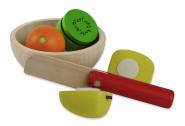 Erzi Obstsalat Holzspielzeug mit Schüssel aus Birke, sowie Messer, Apfel, Orange und Kiwi aus Buche