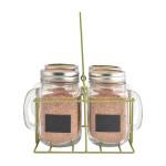 Esschert Design 4er Pflanzset Becher in Träger aus Glas, Weißblech und Metall, 21,9 x 18,0 x 14,5 cm