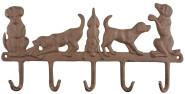Esschert Design 5 Schlüsselhaken im Hundedesign, aus Gusseisen, 36 x 2,4 x 18 cm, mit Montagelochung