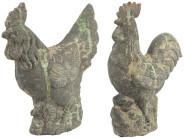 Esschert Design AC Huhn & Hahn Moos aus Terracotta, 28,0 x 11,5 x 35,5 cm / 24,5 x 11,5 x 30 cm, vermoost, Gartendekoration, Gartenfigur, ca. 1,5 kg