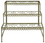 Esschert Design Aged Metal Grün Blumentreppe aus veraltetem Metall, 87,5 x 61,5 x 83,5 cm
