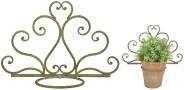 Esschert Design Aged Metal Grün Topfhalter aus veraltetem Metall, 32,6 x 14,3 x 31,3 cm