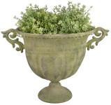 Esschert Design Aged Metal Grün Vase oval L aus veraltetem Metall, 46,3 x 28,0 x 31,5 cm