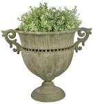 Esschert Design Aged Metal Grün Vase rund L aus veraltetem Metall, 39,5 x 28,0 x 30,6 cm