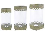 Esschert Design Aged Metal Grün Windlicht 3er Set aus veraltetem Metall und Glas, 9,0 x 9,0 x 17,6 cm