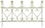 Esschert Design Aged Metal Zaun, Größe L, 121,0 x 2,0 x 77,7 cm, aus Metall in gealterter Optik, klassischer Beet-Zaun, in grün