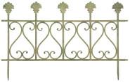 Esschert Design Aged Metal Zaun, Größe S, 60,5 x 1,4 x 38,7 cm, aus Metall in gealterter Optik, klassischer Beet-Zaun, in grün