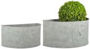 Esschert Design AM Löwe Blumentopf 2er Set, halbrund, 42,2 x 22 x 20 / 49,2 x 26 x 23,8 cm, aus Aged Metall, antikes Design, grau