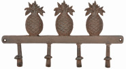 Esschert Design Ananas 4er Wandhaken, 36 x 6,1 x 19 cm, aus Gusseisen, mit Montagelochung, Garderobe, Schlüsselhaken, Schlüsselbrett