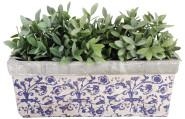 2 Stück Esschert Design Balkonkasten, Blumenkasten aus Keramik in blau-weiß, ca. 40 cm x 16 cm x 15 cm